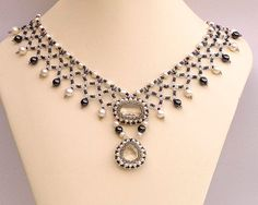 Beadwork necklace with clear quartz hematite and by FleurDeIrk