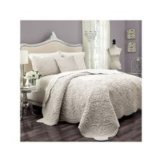 Create a luxury retreat in your bedroom with the Vue Signature Plush Decor Charlotte 3 Piece Coverlet Set . This plush coverlet set features intricate. Bed Sets, Farmhouse Bedding Sets, Beautiful Bedding Sets, Beautiful Beds, Master Bedroom, Bedroom Decor, Master Suite, Bedding Decor, Cozy Bedroom