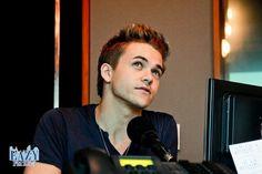 Hunter being interveiwed at a radio station in thailand