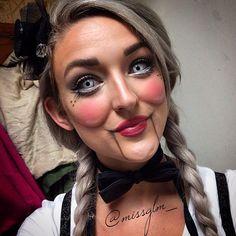 Halloween 2014 Creepy Ventriloquist Doll Makeup by @missglm_