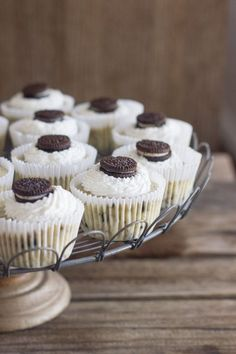 Perfect little cups of creamy cheesecake speckled with bits of Oreo cookie!