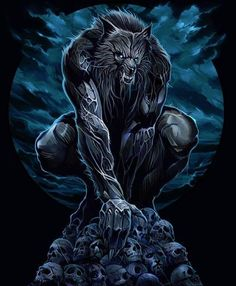 Werewolf standing over his pile of bones and trophies.