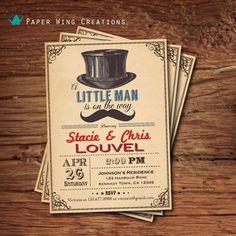 Little Man On The Way Baby Boy Shower Invitation. Retro Hat Mustache Baby Shower Invite. Vintage typography. Red printable invitation. B61 on Etsy, $15.00