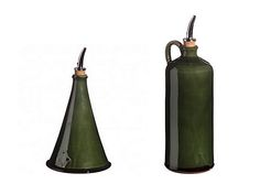 """Barbotine Olive Oil Bottles three different sizes and styles of """"huiliers"""", olive storage bottles. The small teardrop shaped bottle (not pictured), or """"goutte""""  (5"""" tall), is considered elegant enought to dress a salad at the table.  The tall conical bottle (7"""") works equally well for either the table or the kitchen. he suggests the large bottle (9"""") for use in cooking"""
