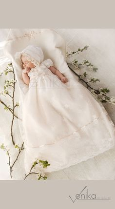 5871b6a18a78 Lace christening gown in the color ivory and very delicate pink / white -  wedding baby dress-birthday dress