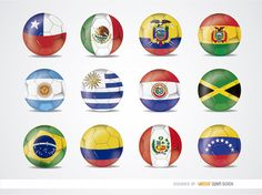 Here you have all 12 teams that will going to dispute Copa America 2015 in Chile: Chile, Mexico, Ecuador, Bolivia, Argentina, Uruguay, Paraguay, Jamaica, Brazil, Colombia, Peru, and Venezuela. Make awesome promos for this championship with those team flags in balls. High quality JPG included. Under Commons 4.0. Attribution License.