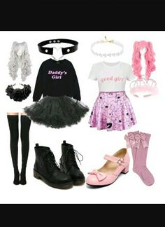 """""""DDLG outfits"""" by hayesisperfect I woulf wear the darker one! Little Girl Outfits, Cute Outfits For Kids, Cute Casual Outfits, Stylish Outfits, Pastel Goth Outfits, Pastel Goth Fashion, Kawaii Fashion, Ddlg Outfits, Teen Fashion Outfits"""