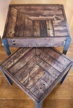 A pair of nesting tables created out of repurposed pallet wood and angle iron metal legs. Great character and charm, showing the wear and tear of a life of being a pallet. Metal legs are unfinished, matching the distressed look of the wood. Sturdy construction with a heft and