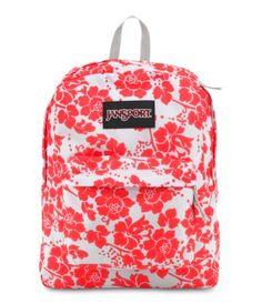JanSport Black Label Superbreak Backpack - Fluorescent Red Floral Fun / x x Sac Jansport, Mochila Jansport, Jansport Superbreak Backpack, Cute Backpacks, Girl Backpacks, School Backpacks, Leather Backpacks, Leather Bags, Floral Backpack