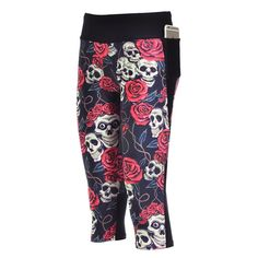 Bed of Roses - Capris #leggings #leggingsarepants #skulls #roses  #yoga #yogapants