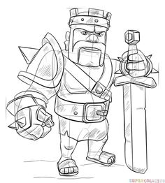 How to Draw From Clash of Clans Barbarian King