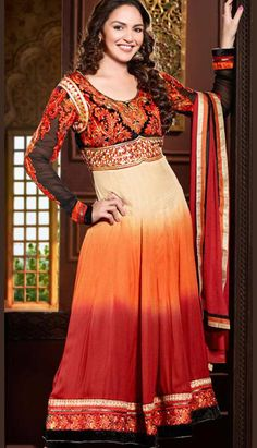 Get Latest Bollywood Beautiful Ethnic Red Georgette Churidar Kameez #AnarkaliDresses with Bright Colors.  #Price INR- 8239 Link- http://alturl.com/xgr2a