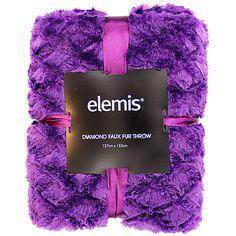 Elemis Throw Diamond Faux Fur Purple 127cm x 152cm