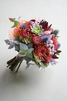 Proteas are a great flower to include in your bridal bouquet and centerpieces. How To Wrap Flowers, Cut Flowers, Silk Flowers, Protea Bouquet, Protea Flower, Australian Flowers, Australian Plants, Protea Wedding, Flower Bouquet Wedding