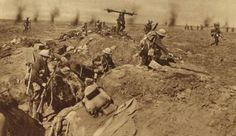 second wave of british troops leaving the trenches on the Somme.