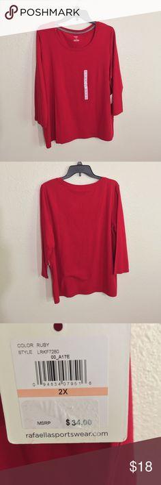 Rafaella Red Top Rafaella Red Top Long Sleeve 2X Rafaella Tops