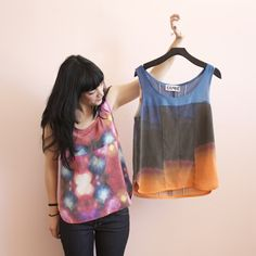 Image of Ermie pieced print tanks