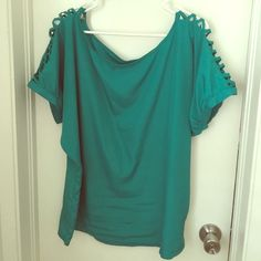 Green pure energy top Silk like material with cute open detail on shoulders can be tunic or regular top but loose  and light Pure Energy Tops