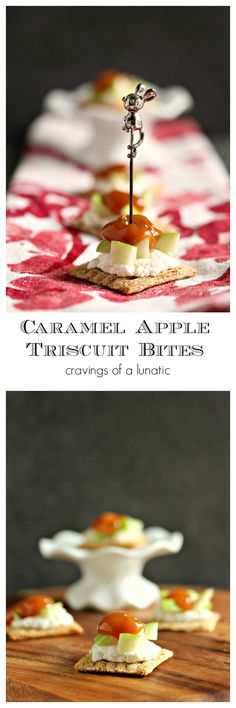 Caramel Apple Triscuit Bites- These Caramel Apple Triscuit Bites are the perfect party food. Top Triscuit Crackers with Ricotta, Apples and Caramel for sweet party bites! Get the recipe on cravingsofalunatic.com