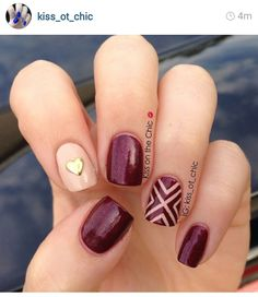 Like the design but would leave index finger same color Manicure Gel, Gelish Nails, Diy Nails, Cute Nails, Pretty Nails, Beige Nails, Maroon Nails, Purple Nails, Prom Nails