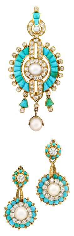 An Antique Gold, Pearl, Turquoise and Diamond Demi Parure, Circa 1860. Consisting of a pendant / brooch and a pair of earrings. Brooch 2 7/8 x 1 1/4 inches, earrings 1 1/2 x 3/4 inches. #antique #pendant #brooch #earrings