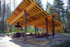 Now that's a picnic shelter.  Pine Creek Pavilion | Artemis Institute | Archinect