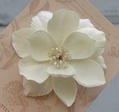 Custom Beaded Magnolia Wedding Hair Flower.
