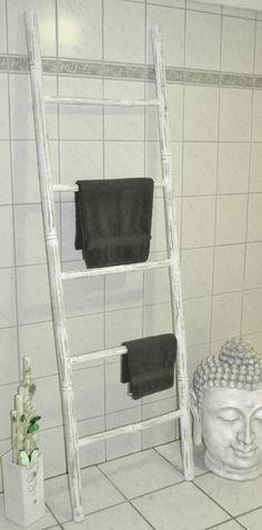 XL Bambus Handtuchhalter Bambusleiter Handtuchhalter Dekoleiter Leiter H200 Weiß