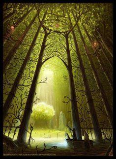 Reino élfico na floresta
