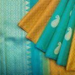 Kanakavalli Handwoven Mustard Yellow Kanchivaram Saree