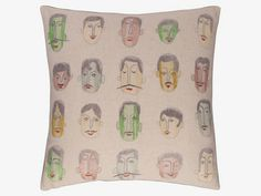 GUY 45 x embroidered heads cushion Habitats, Feather, Textiles, Colours, Guys, Repeat, Fabric, Cotton, Lounge
