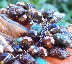 Classic Loaded Turtle Czech Pressed Glass Charm Bracelet  | evezbeadz - Seasonal on ArtFire