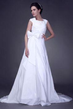 Charming A-line Taffeta Chapel Train Wedding Dress with Bow Detail