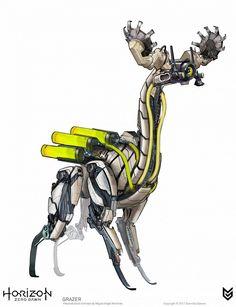 50 Horizon Zero Dawn Concept Art by Miguel Angel Martinez Concept Art World, Robot Concept Art, Game Concept Art, Horizon Zero Dawn Robot, Animal Robot, Cyberpunk, Art Et Design, Arte Robot, Marionette