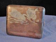 ANTIQUE CIGARETTE CARD CASE JAPANESE SILVER COPPER SHIBUICHI SHAKUDO SWAN BIRD