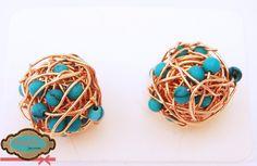 Código: Zar-00010 Zarcillos pequeños turquesas en forma de nidos. #Earrings