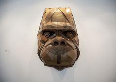 Metaphorical Cardboard Sculptures - Laurence Vallieres Turns Societal Issues into Cardboard Animals (GALLERY) Cardboard Sculpture, Cardboard Crafts, Wolf Base, Cardboard Animals, Sculpture Projects, Animal Heads, Animal Sculptures, Recycled Art, Paper Art