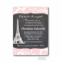 Chalkboard Paris Invitation  Baby Shower for a by TrinityStStudio