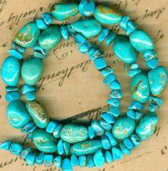 "Southwest Kingman Mine Turquoise Beads Blue Green Natural 16"" Strand Up TO13MM   eBay"