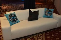 Turquoise Blue & White Bat Mitzvah Lounge & Logo Pillows {Westminster Hotel NJ, Brad Photographers & Video} - mazelmoments.com