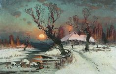Закат солнца зимой 1891 Холст масло. часть 1 - русских и советских худ Русские и советские художники: