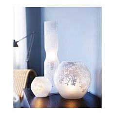 IKEA - KNUBBIG, Table lamp, cherry-blossoms white, Gives a soft mood light. Mood Light, Guest Room Office, Clear Light Bulbs, Beauty Room, Glass Table, Lamp, Ikea, Front Room, Home Decor Furniture