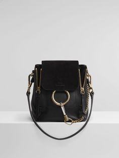 Chloe Mini Faye backpack in black smooth & suede calfskin Chloe Faye Backpack, Chloe Wallet, Faye Bag, Chloe Bag, Backpack Outfit, Mini Backpack, Black Backpack, Backpack Bags, Black Crossbody