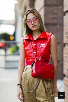 Gia Seo wearing a Courreges jacket and bag during new York Fashion Week Spring Summer 2017