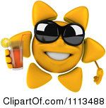 Clipart 3d Sun Character With Shades And Tea 2 Royalty Free CGI Illustration by Julos