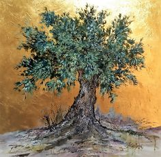 Olive Tree on Gold,Original Acrylic Painting on canvas,Tree of life texture painting,Gold Art,Rich Green and Gold Acrylic Painting Trees, Gold Acrylic Paint, Oil Pastel Paintings, Paintings Of Trees, Beautiful Paintings, Beautiful Landscapes, Abstract Landscape, Landscape Paintings, Cool Ideas