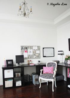 Even with plain white walls (renters), a simple corner in the home can become a sophisticated office space. Black furniture, a fun chair, and organizational bins and baskets from HomeGoods make for a fun space to get work done at home. A few pops of pink brighten the space up too! Sponsored by HomeGoods.
