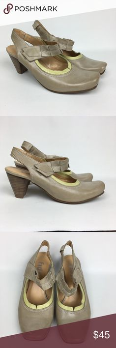 Fidji Beige Leather Sz 8/39 Sling Black Mary Jane Pre owned Good Used Condition. Fidji Shoes Heels
