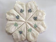 Women's Cotton Lace Embroidered Flower with Lace Edge Handkerchiefs 6pcs