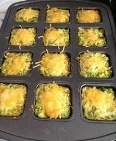 Pampered Chef Broccoli Bites. 2 cups frozen broccoli 2 eggs 2 cups cheddar cheese Salt and pepper to taste 1. Preheat oven to 350* 2. Place frozen broccoli into Micro Cooker and microwave for 2 minutes 3. Use Manual Food Processor to chop up the broccoli. 4. Use Rotary Grater to grate cheddar cheese.  5. Mix all ingredients together 6. Fill each well of the Brownie Pan 3/4 full.  7. Top with a little more cheese 8. Bake for  25 minutes.  Enjoy!